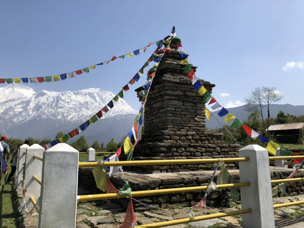 A stupa, on the way to Kholasother Trekking in Nepal Gurung heritage trail