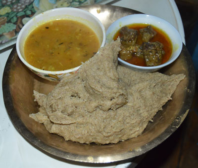 A popular dish Dhedo Food in rural Nepal