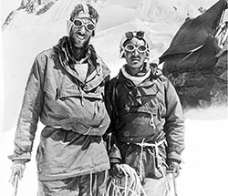 Edmund Hillary from New Zealand and Tenzing Norgay, a Sherpa guide from Nepal