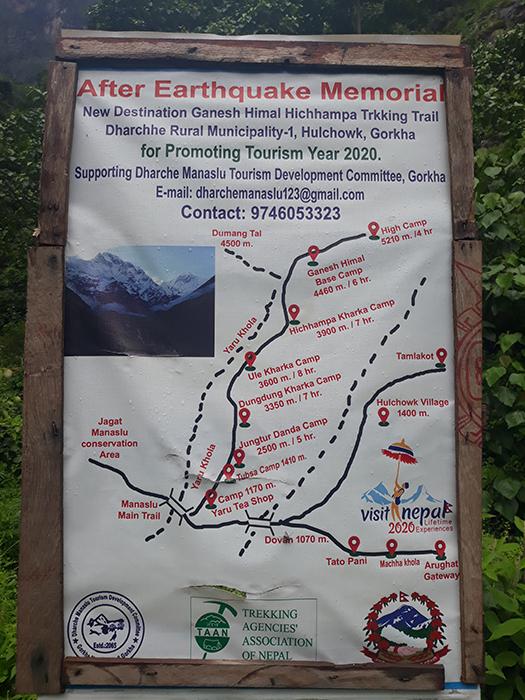 Gnesh Himal map trail