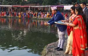 Vice-President Nanda Bahadur Pun offering arghya to the sun god