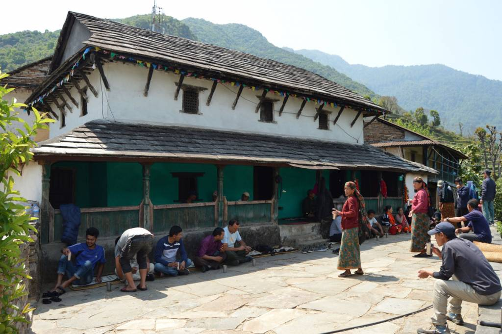 Lunch in a homestay, serve by mother group Tourist destination in Nepal, Lamjung