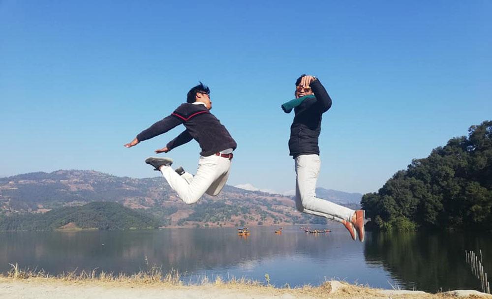 Rara Lake Visitors jumping in high spirit