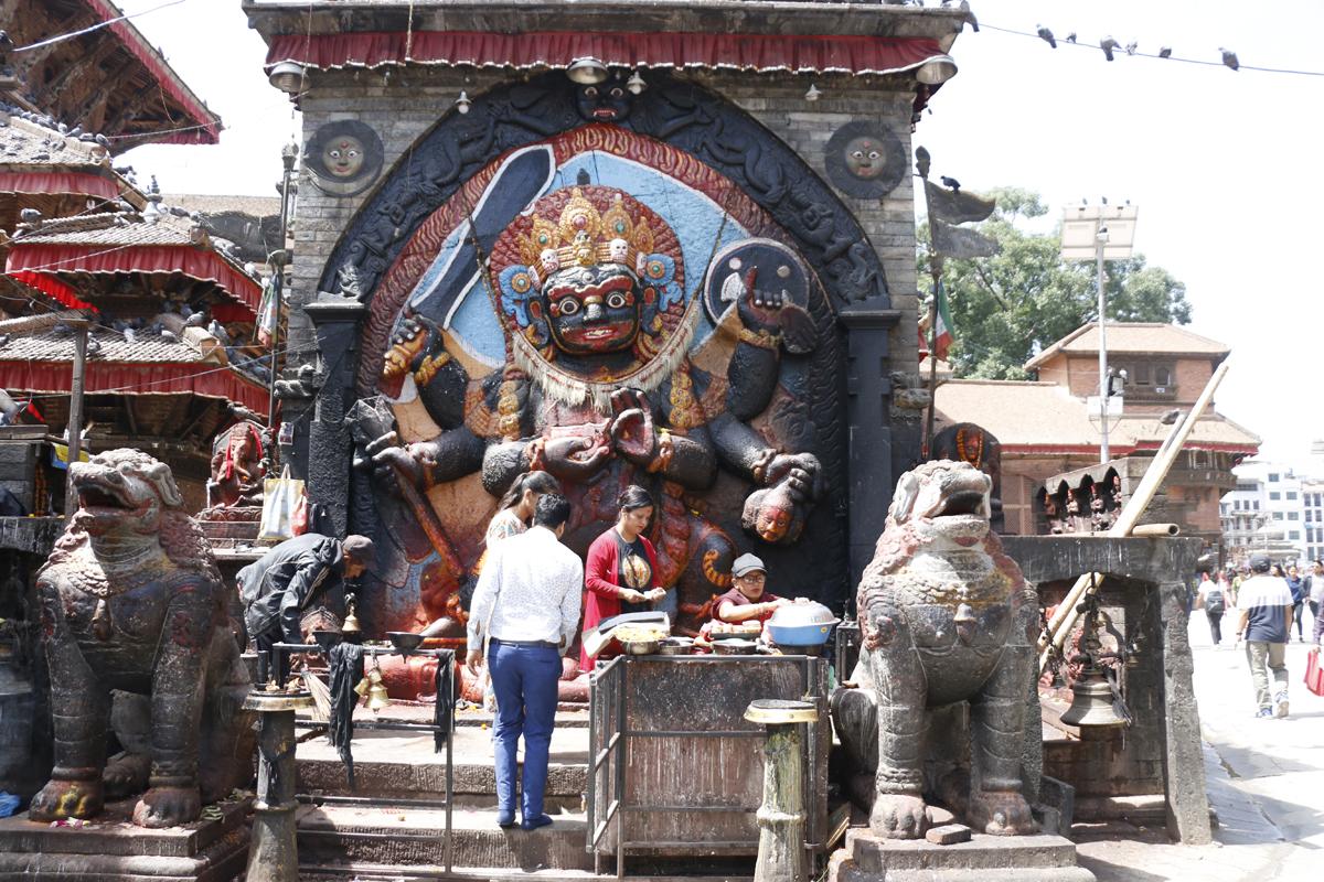 Kalbhairav at Kathmandu Durbar Square