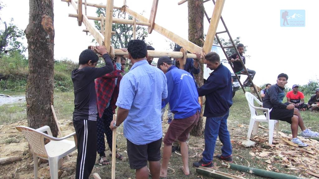 Making a revolving swing culture of Nepal