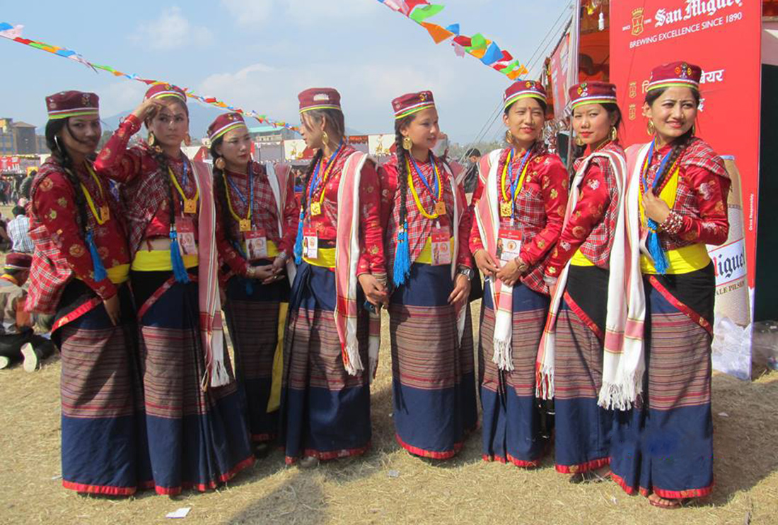 Tamang girls in traditional dress