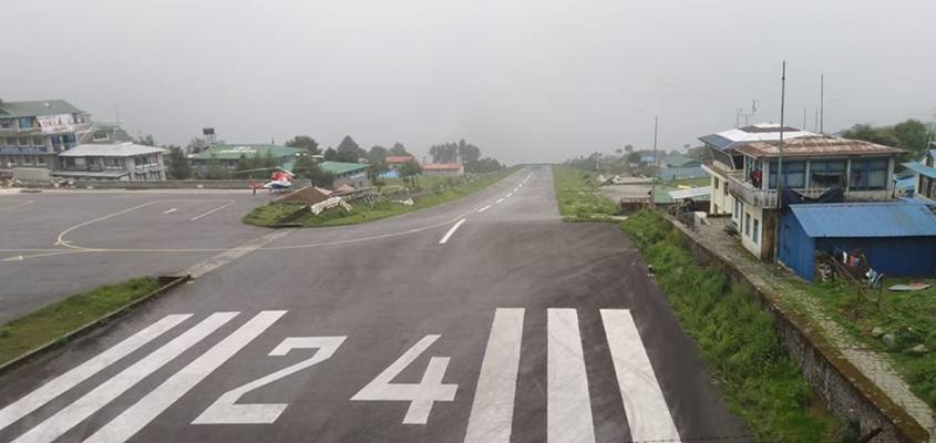 Bare Lukla airport due to bad weather