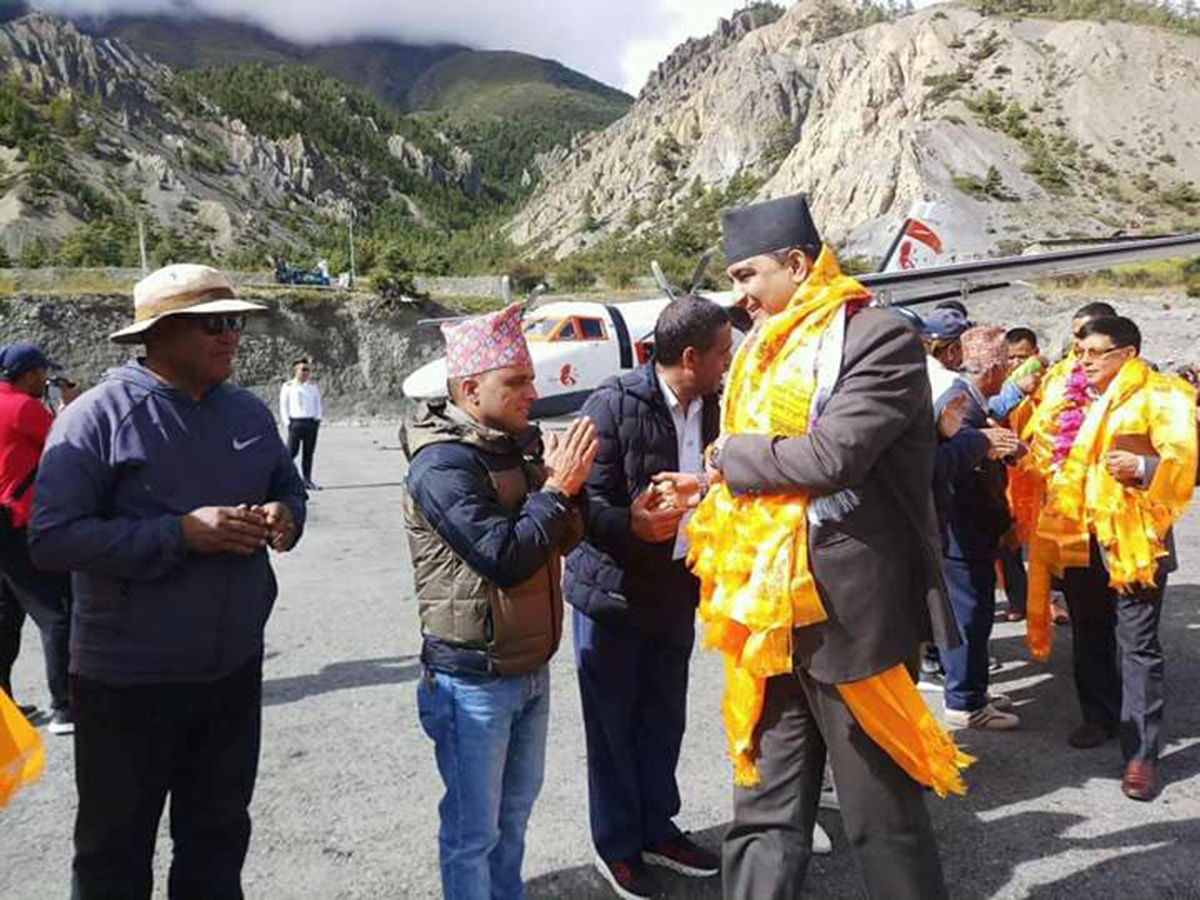 Tourism Minister of Gandaki at the airport