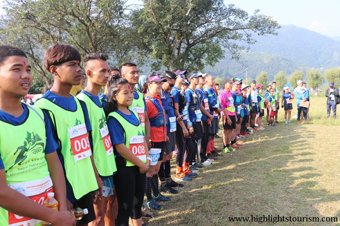 Players during Pokhara International Mountain Cross Country
