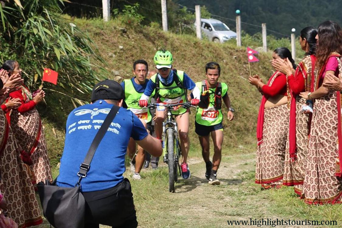 Cycling during Pokhara International Mountain Cross Country 2019