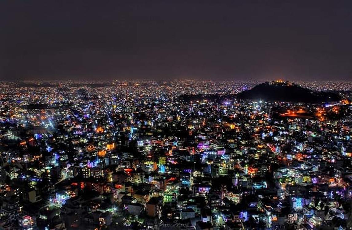 Kathmandu at night during Tihar- Photo: Travel house Nepal