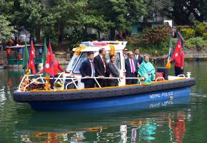 Bangladesh President Hamid enjoying boat ride at Fewatal