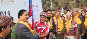 Minister Bhattaria inauguates cycle ride through Sindhuli